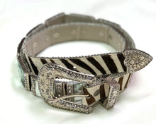 Zebra Belt W/ Square Jewels