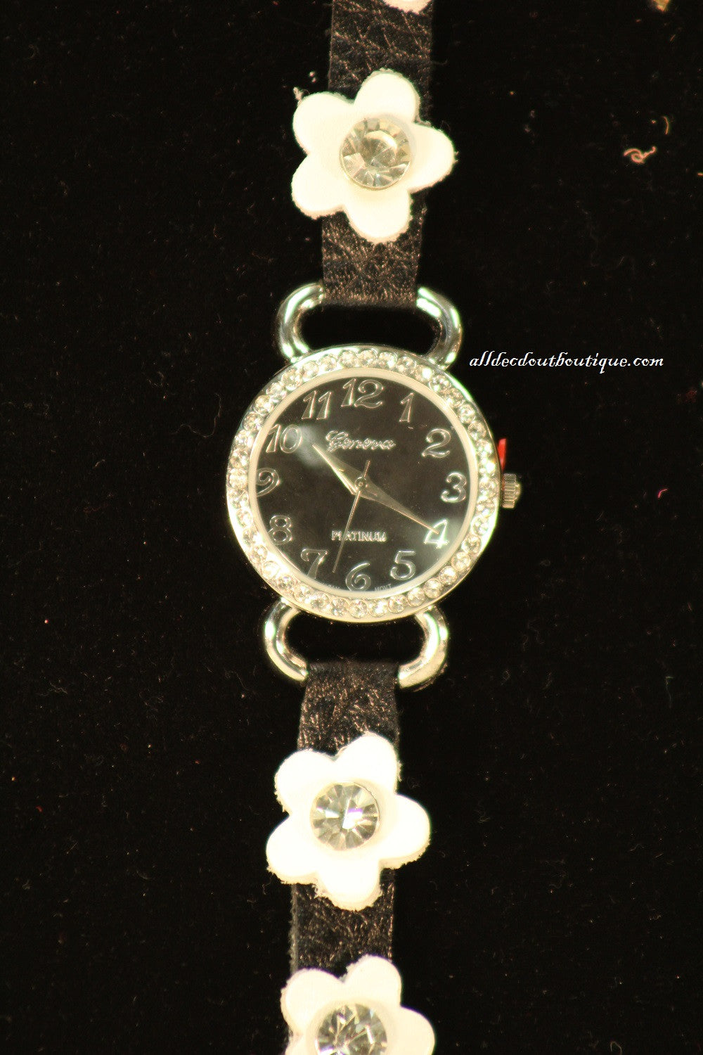 Black/Black, White Flowers | Leather Band w/ Buckle Clasp