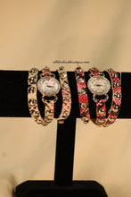 Pink & White/White, Band Reptile Print Leather Band w/ Buckle Clasp