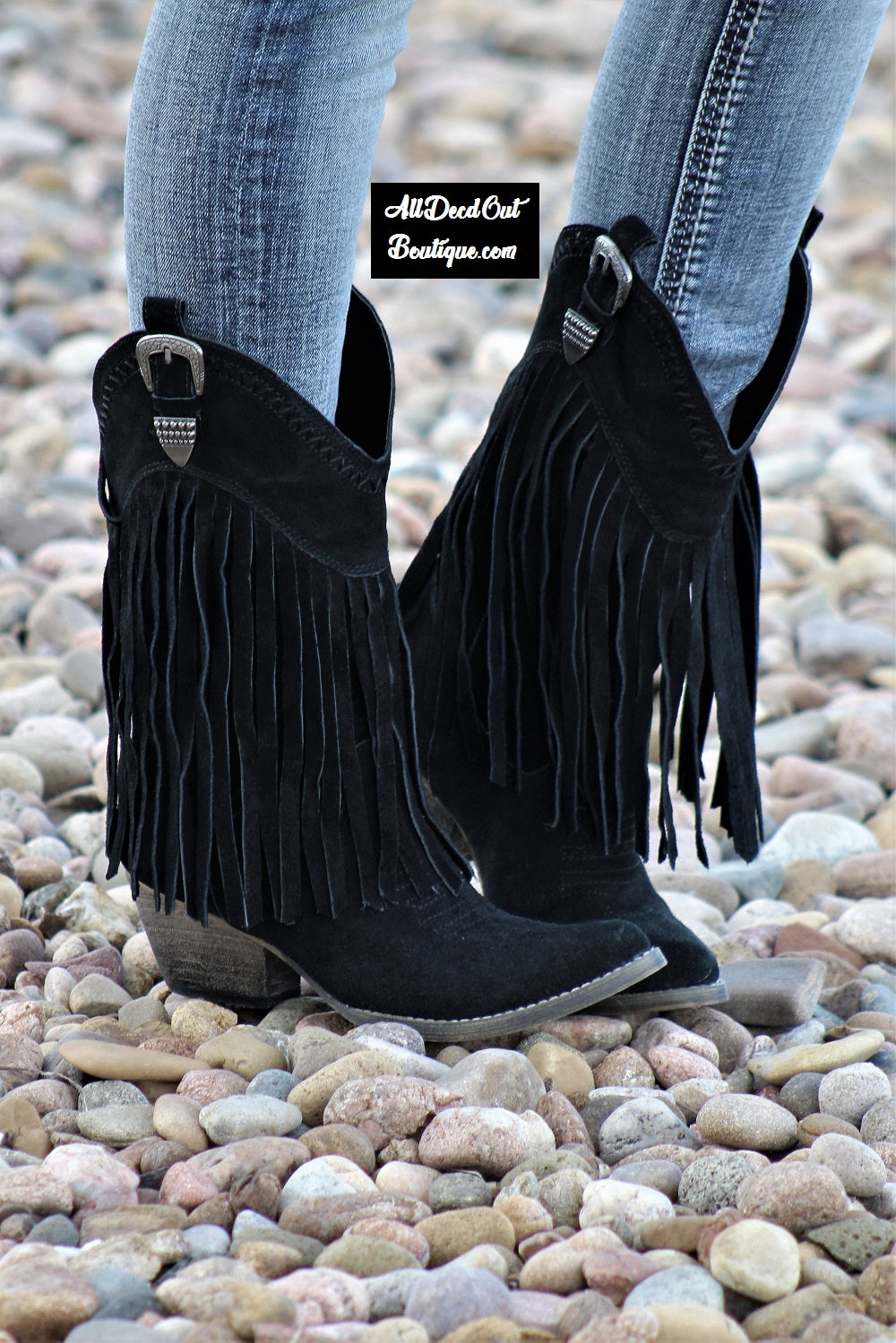 Very Volatile | Hillside Fringe Cowgirl Boots Black
