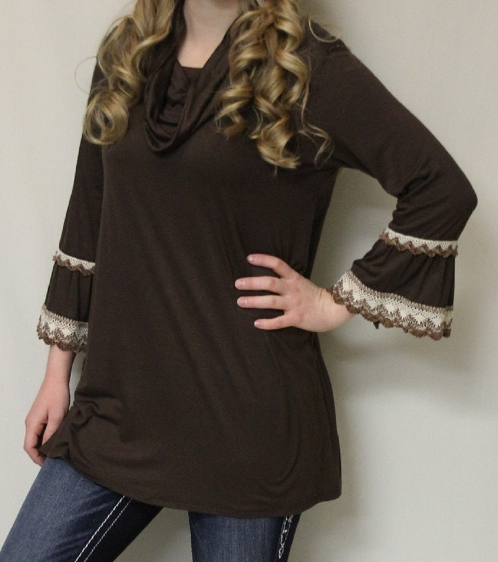 Now N Forever | Bell Sleeve & Crochet Trimming Brown