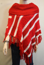 Lily | Crochet Striped Sweater Poncho Red & White