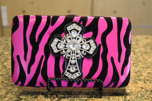 ADO | Bling Cross Zebra Print Clutch Wallet Pink
