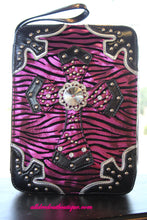 ADO | Pink Zebra and Black Embellished Bible Cover
