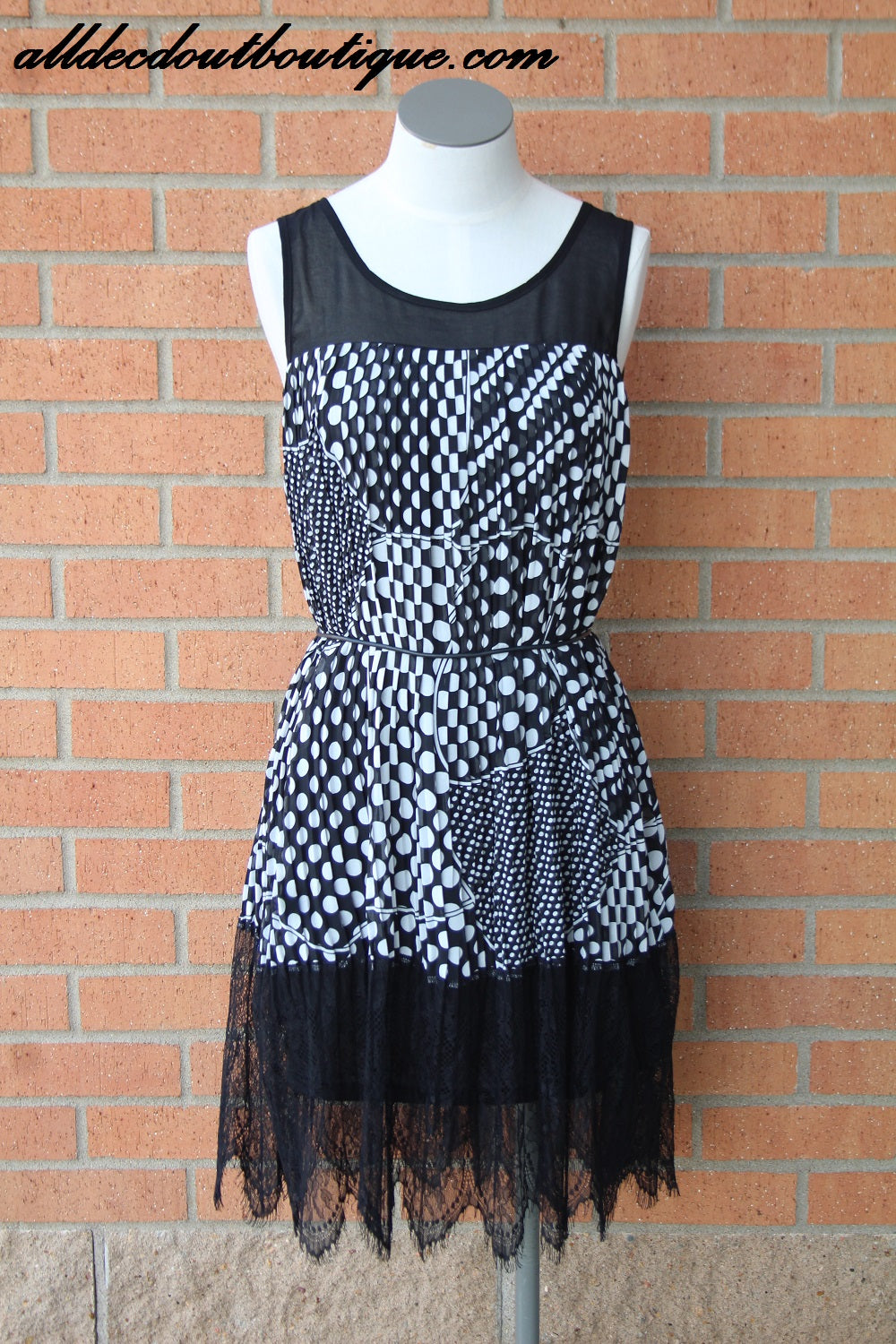Ina | Black and White Polka Dot Lace Midi Dress