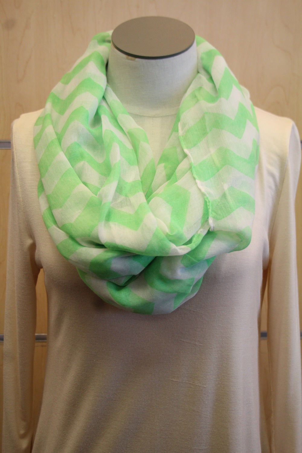 ADO | Infinity Green and White Chevron Scarf - All Decd Out