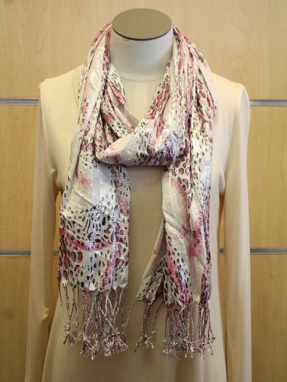 ADO | Wrap Pink and Silver Cheetah Scarf