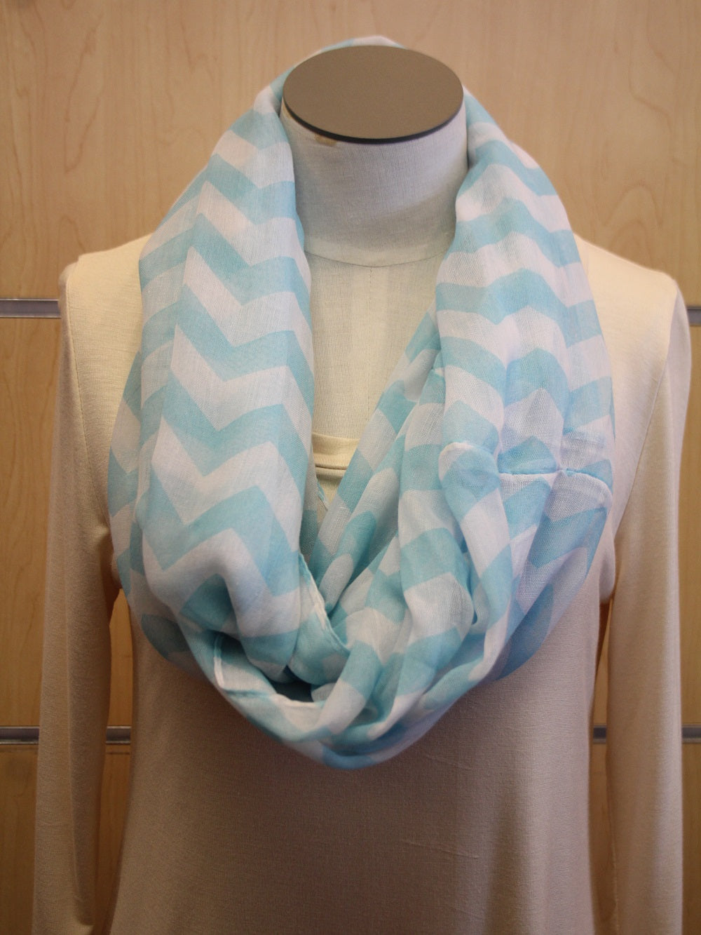 ADO | Infinity Light Blue and White Chevron Scarf