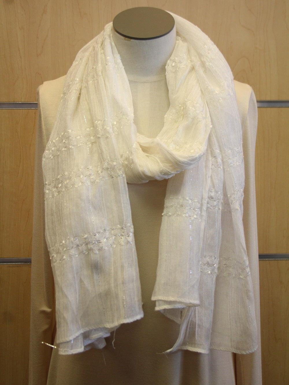 ADO | Wrap White Scarf with Small Silver Lines