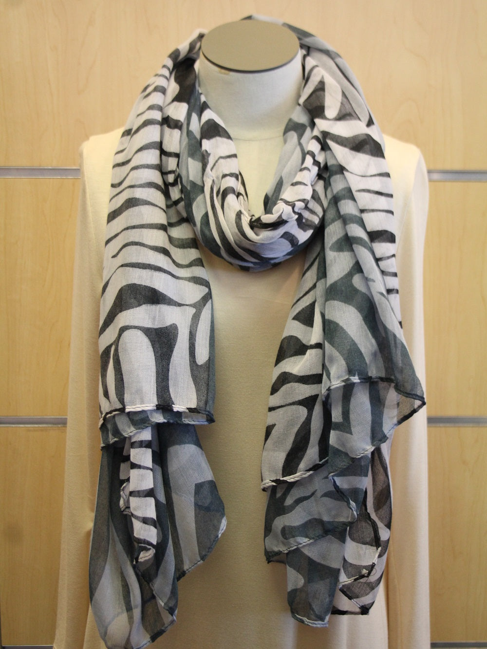 ADO | Wrap White and Grey Zebra Scarf