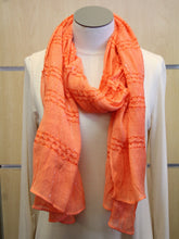 ADO | Wrap Orange Scarf with Small Silver Lines