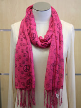 ADO | Wrap Dark Pink Peace Sign Scarf