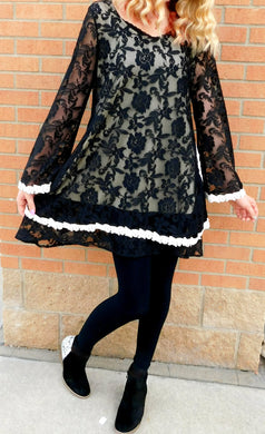 J&M Lace Tunic Dress with Pockets Black | All Dec'd Out
