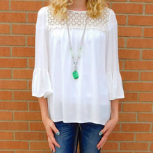 J&M | Lace Trim Tunic Off White