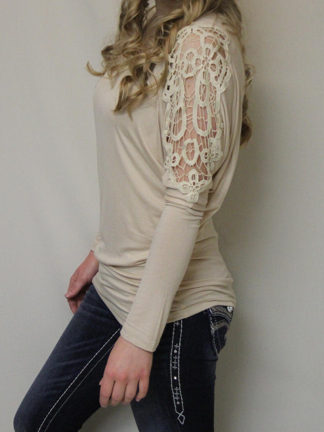 Julila | Lace Cut-Out Dolman Long Sleeve Top Taupe