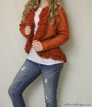 Lily | Crochet Orange with Ruffle Trimming and Sequin Cardigan