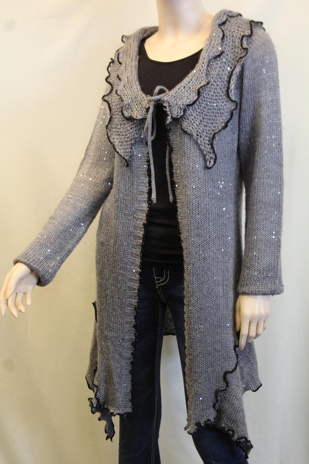 Lily | Crochet Sweater Cardigan Grey with Black Trimming with Sequin