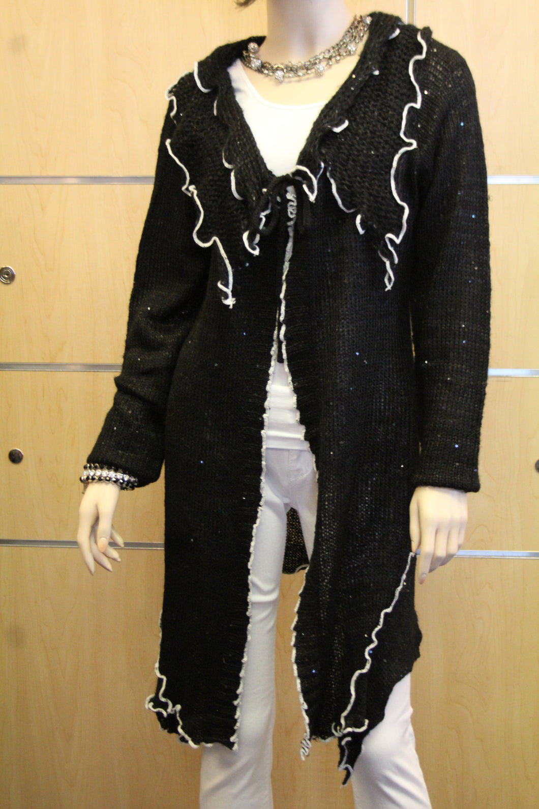 Lily | Crochet Sweater Cardigan Black with White Trimming with Sequin