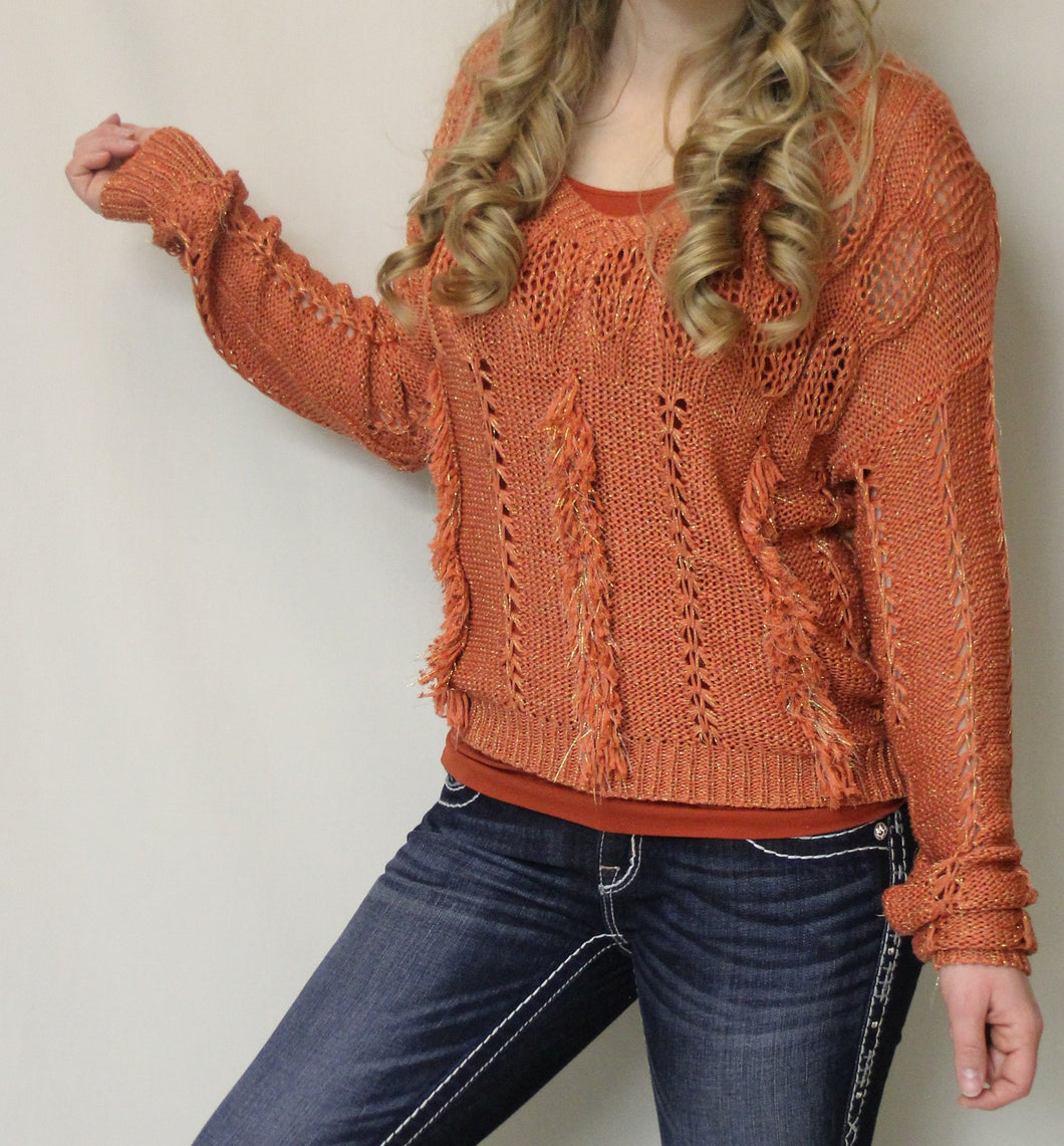 Lily | Crochet Fringe Sweater Rust