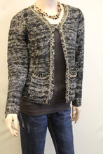 Lily | Two-Tone Sweater Cardigan with Gold Chain Trimming Black
