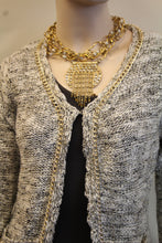 Lily | Two-Tone Sweater Cardigan with Gold Chain Trimming Cream