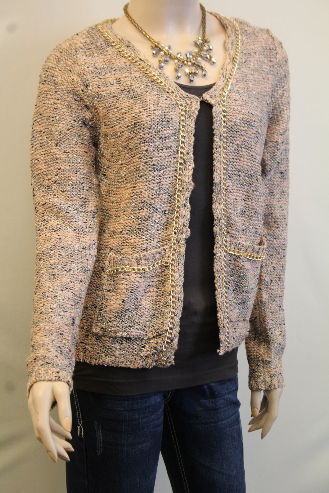 Lily | Two-Tone Sweater Cardigan with Gold Chain Trimming Pink