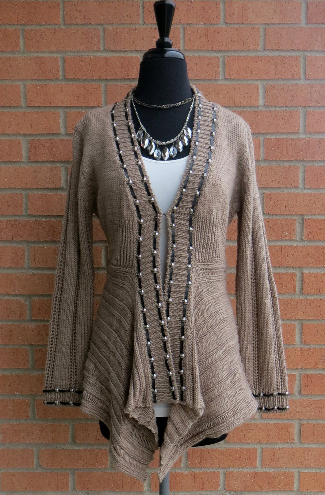 Lily | Crochet Beige Sweater Cardigan with Leather Trim