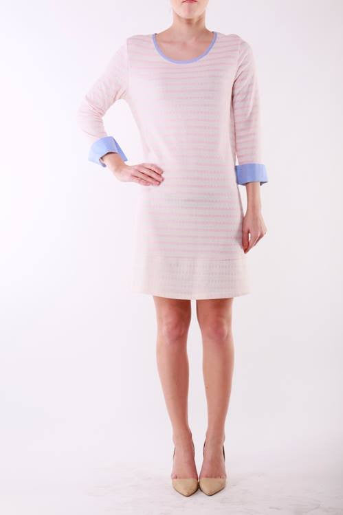 Lime & Chili | Marble French Terry Striped Tunic Dress Pink