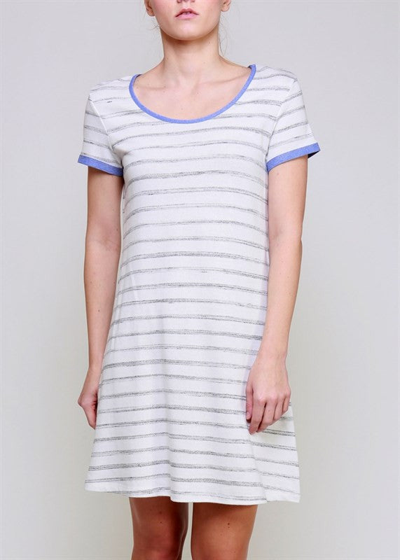 Lime & Chili | Marble French Terry Striped Tunic Dress