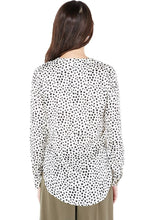 Lumiere | White V-Neck with Black Polka Dots