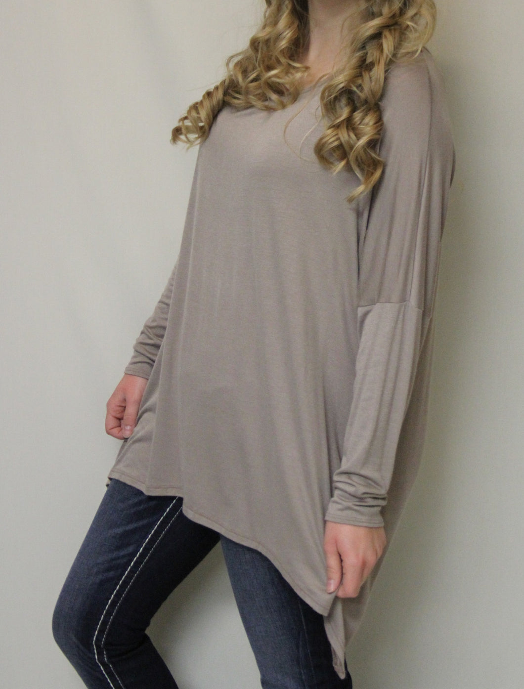 Luxe USA | Slouchy Dolman Top Taupe