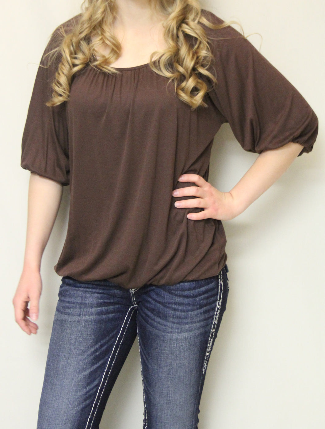 Luxe USA | Solid Brown 3/4 Bishop Sleeve Top