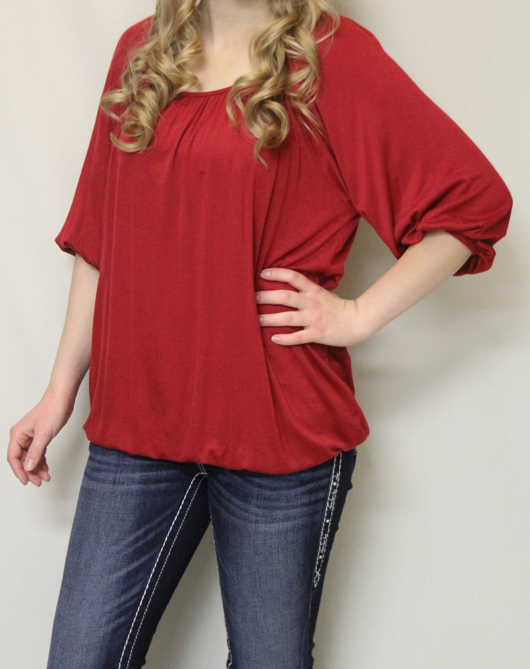 Luxe USA | Solid Red 3/4 Bishop Sleeve Top