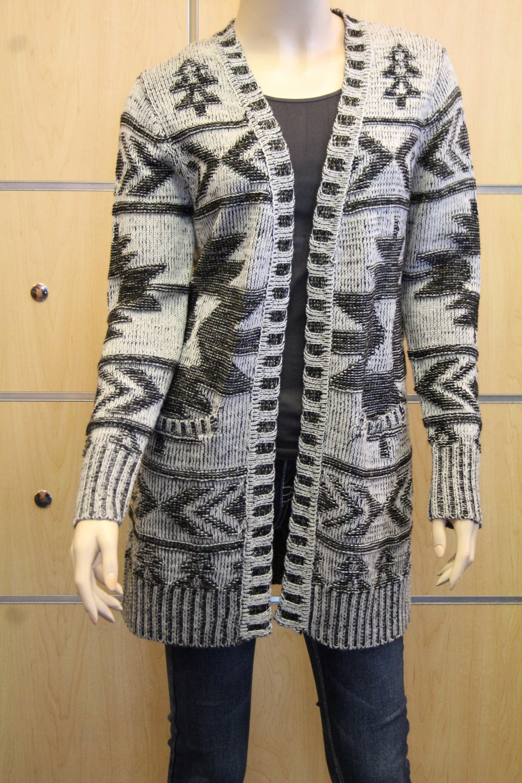 Morning Apple | Aztec Print Sweater Cardigan Grey