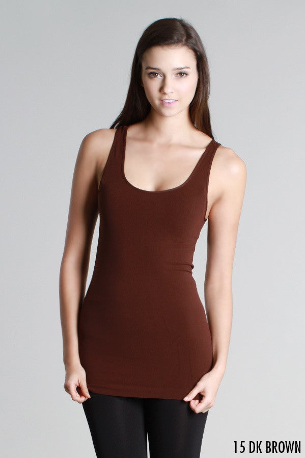 NS5178 Niki Biki Wide Strap Long Tank Cami Dark Brown