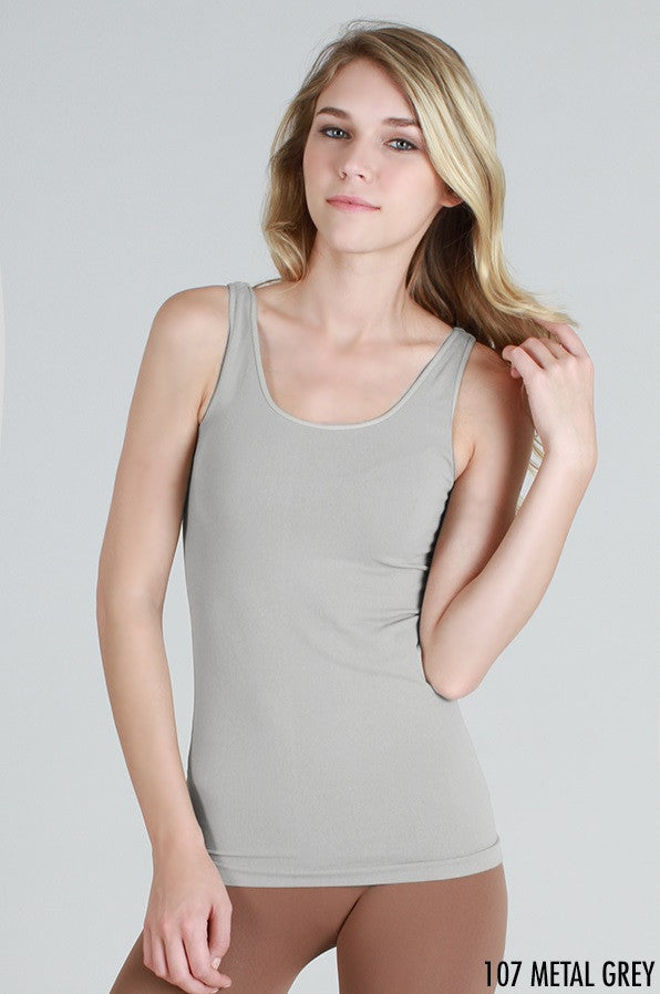 NS5178 Wide Strap Long Tank Cami Metal Grey