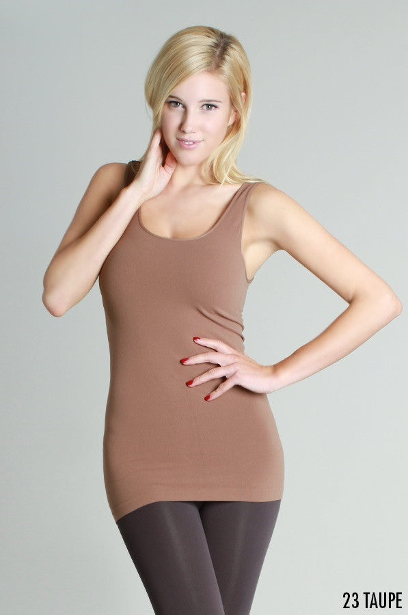 NS5178 Wide Strap Long Tank Cami Taupe