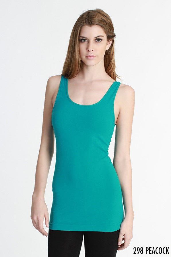 NS5178 Wide Strap Long Tank Cami Peacock