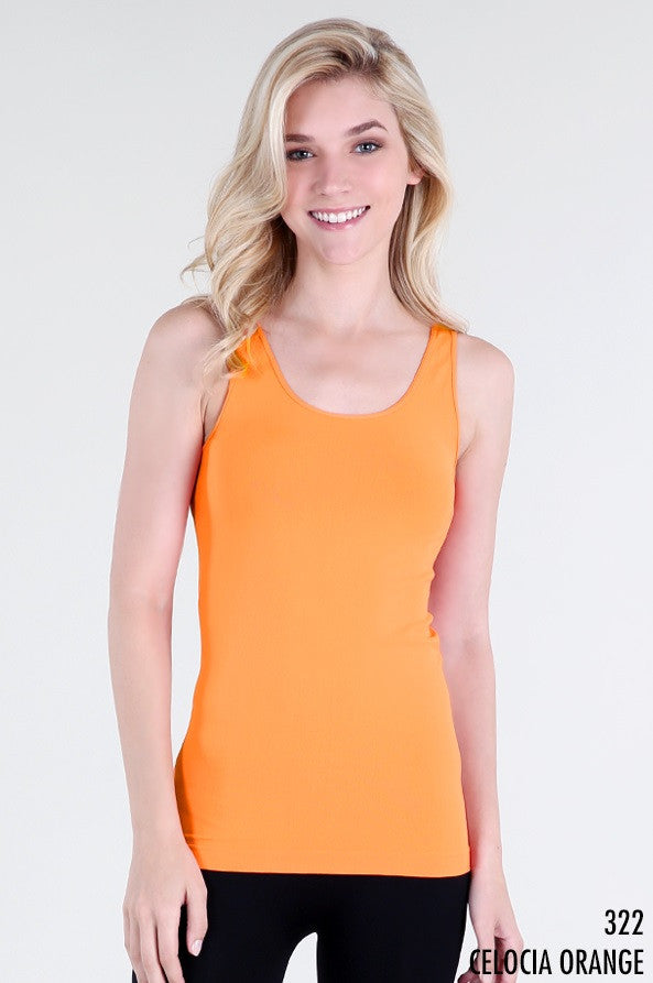 NS5178 NIki Biki Wide Strap Long Tank Cami Celocia Orange