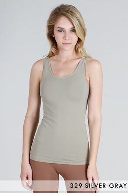 NS5178 Wide Strap Long Tank Cami Silver Grey