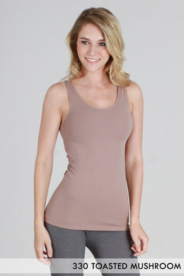 NS5178 Wide Strap Long Tank Cami Toasted Mushroom