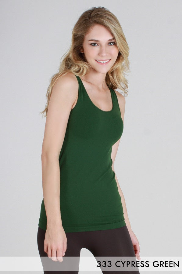 NS5178 NIki Biki Wide Strap Long Tank Cami Cypress Green