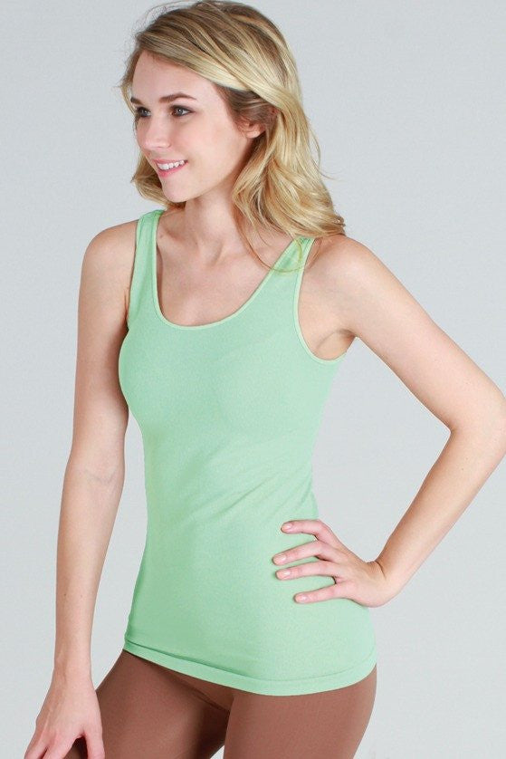 NS5178 Wide Strap Long Tank Cami Lucite Green