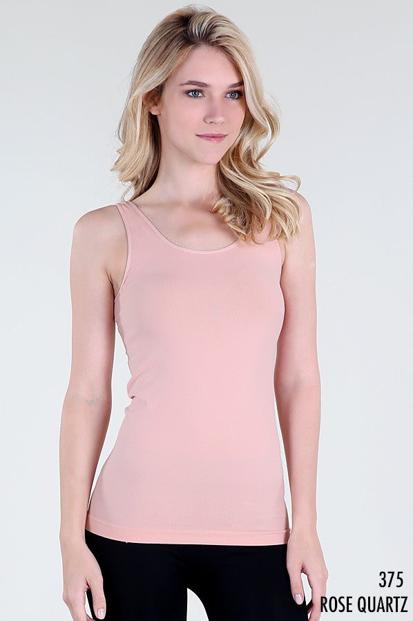 NS5178 Wide Strap Long Tank Cami Rose Quartz