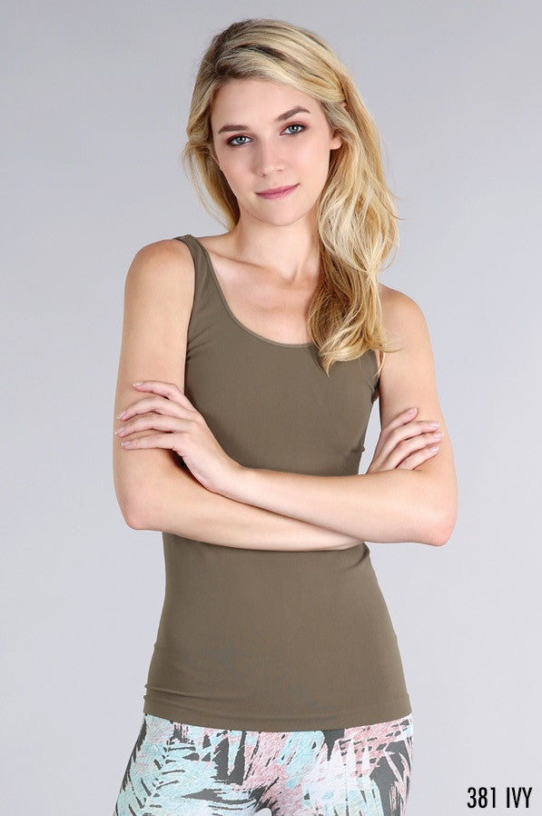 NS5178 Wide Strap Long Tank Cami Ivy
