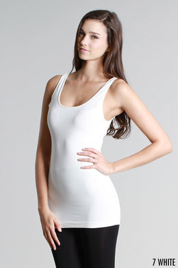 NS5178 Wide Strap Long Tank Cami White