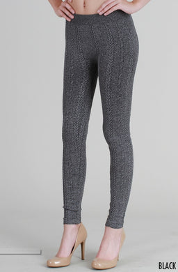 NB6558 Knit Braid Sweater Leggings Black