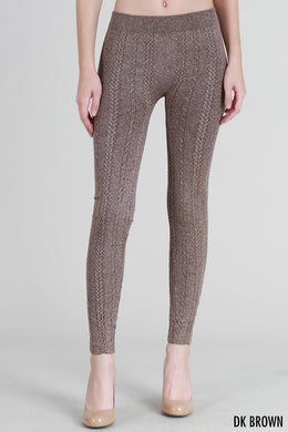 NB6558 Knit Braid Sweater Leggings Dark Brown