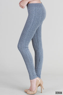 NB6558 Knit Braid Sweater Leggings Denim