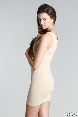 NS5178D Wide Strap Long Tank Dress Stone
